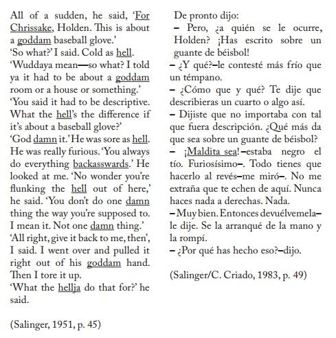 Fragmentos de la novela general y la traducida en una versión de 1983.