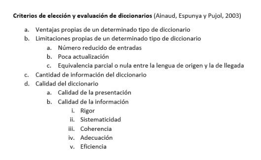 Evaluación de diccionarios