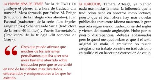 Crítica de la mesa redonda en la revista Románticas (http://issuu.com/romanticasmagazzine/docs/romanticas_-_039)
